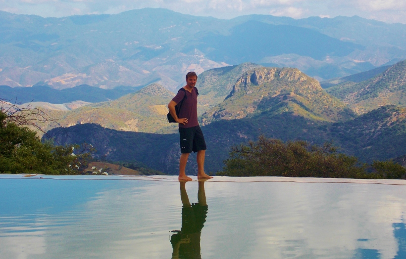 At the edge of the Infinty Pool at Hierve El Agua