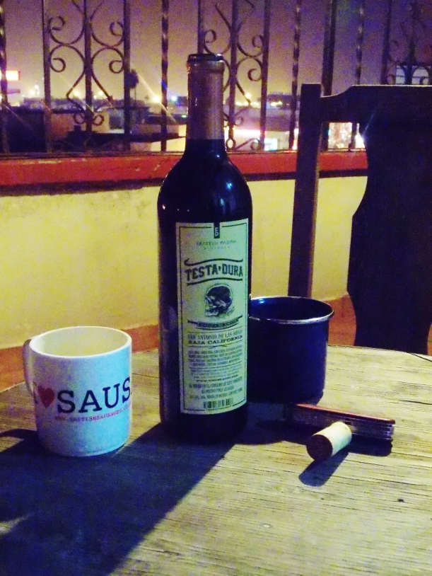 Baja wine and mugs on the balcony #hoptgf