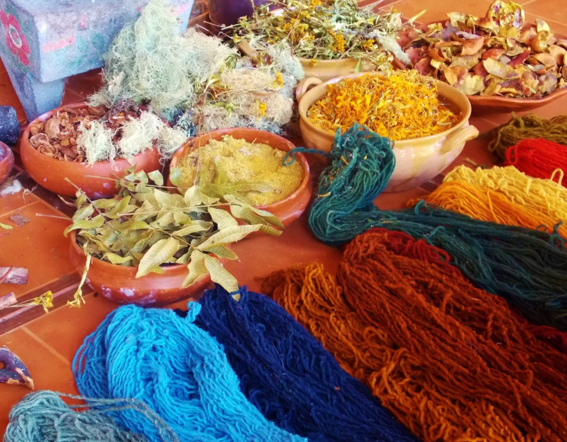 Natural Dyed wool and the ingredients used