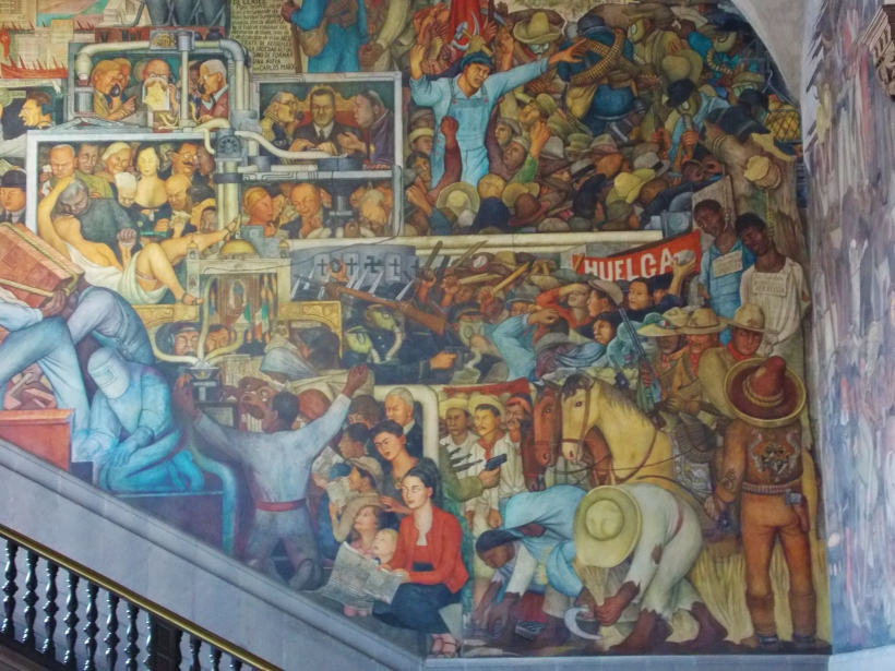 Part of the Diego Rivera mural - Palacio Nacional. Can you spot Frida Kahlo?