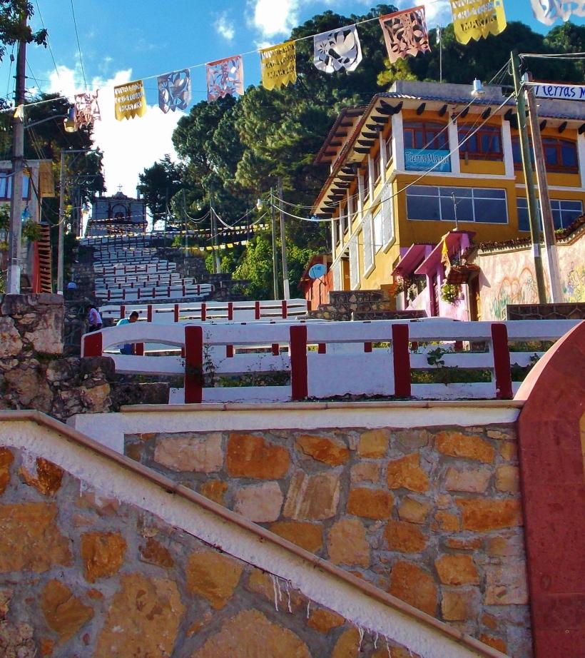 The 260 odd step climb to Iglesia de  San Cristobel