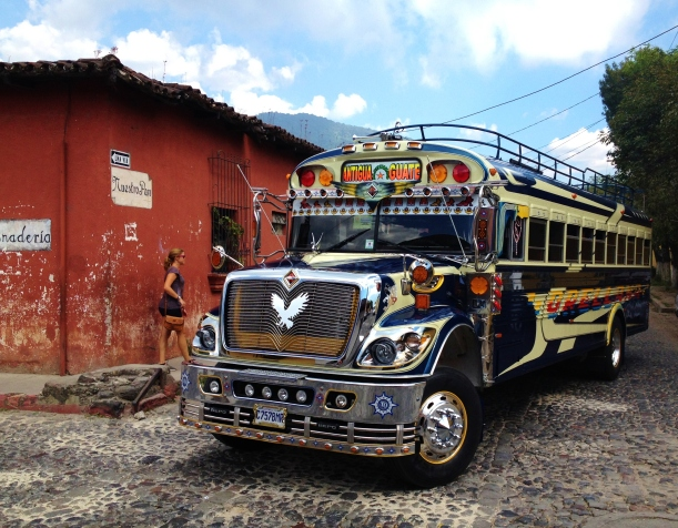Chicken Bus to Guate from Antigua