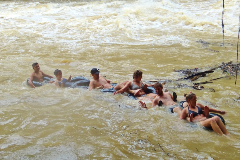 Some concerned faces setting off on tubes down the mighty Rio Cahabón