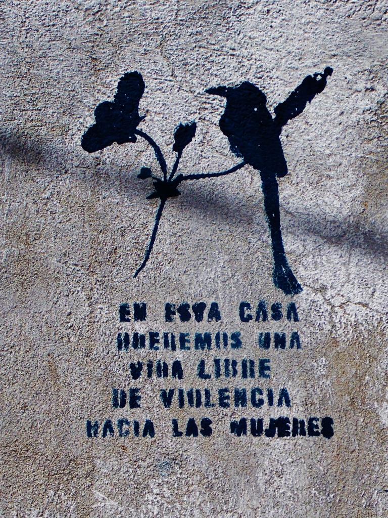 Anti Domestic violence stencils are outside most houses in Suchitoto
