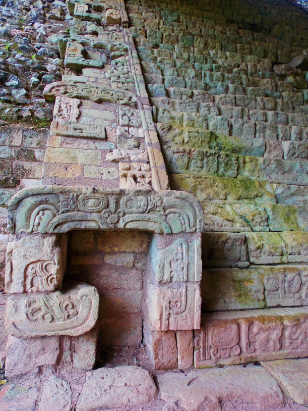 Close up of carvings on the stairway