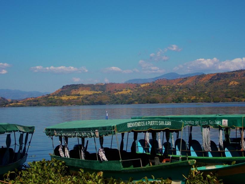 Lanchas for hire on Lake Suchitlan