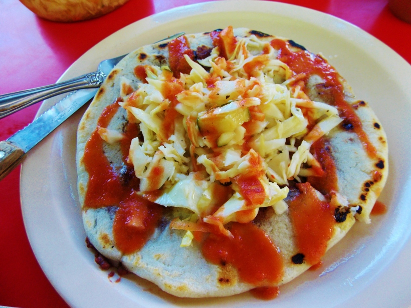 Not the traditional way to dress a Pupusa, but, it looks pretty