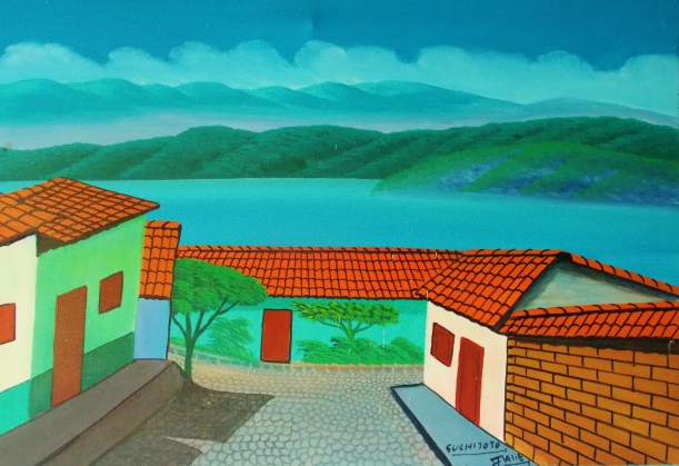 Painting of the Vista de Lago hostel and lake Suchitlan