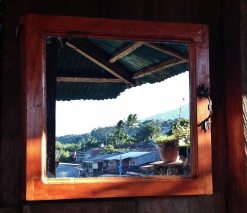Reflection of the view from the miarador at Mumas and Papas