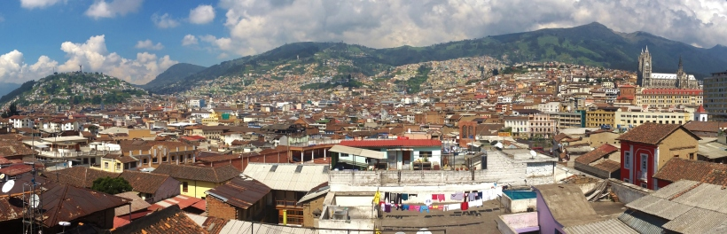 Panorama of Quito Old town from Secret Garden terrace.  Panecillo on the left all th way to the Basilica on the right
