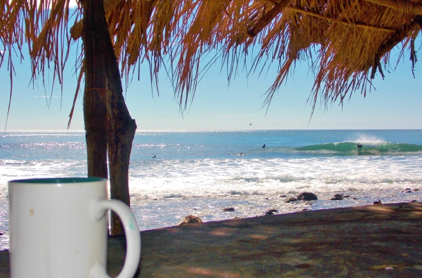 Coffee at Teco's watching the point break surfers