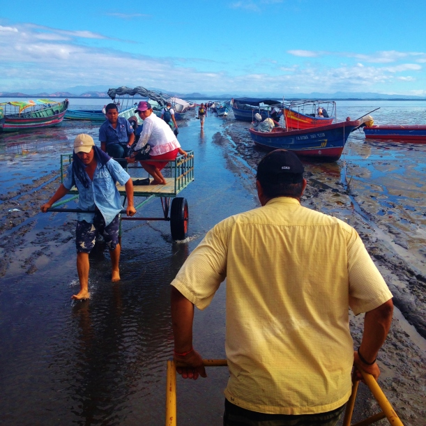 Being carted to the lancha through the shallows - Odd