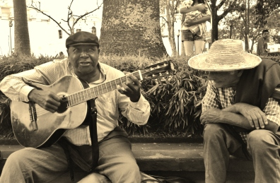 A local plays away in popayans main square