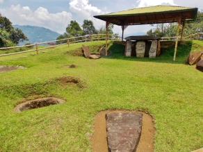 Unearthed burial tombs at Forest walk through the park of San Agustín
