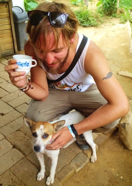 Enjoying a fine cup with a pooch