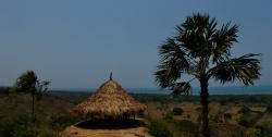 Palapa roofed hammock hut on the mirador