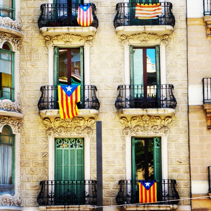 Catalan flags hang from most of Barcelona's balcony's.